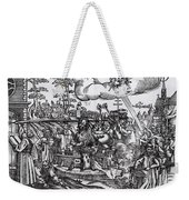 Martin Luther 1483 1546 Writing On The Church Door At Wittenberg In 1517 Weekender Tote Bag