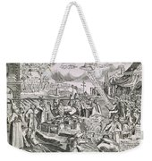 Martin Luther 1483 1546 Writing On The Church Door At Wittenberg In 1517  Weekender Tote Bag by Swiss School