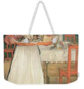 Martina Carrying Breakfast On A Tray Weekender Tote Bag