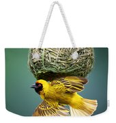 Masked Weaver At Nest Weekender Tote Bag by Johan Swanepoel