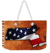 Massachusetts American Flag State Map Weekender Tote Bag