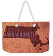 Massachusetts Word Art State Map On Canvas Weekender Tote Bag by Design Turnpike