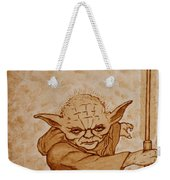 Master Yoda Jedi Fight Beer Painting Weekender Tote Bag