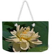 Mature Lotus Flower And Cute Hovering Honeybee Weekender Tote Bag