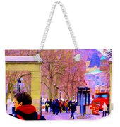 Mcgill Campus Eager Students Enter Roddick Gates Montreal Collectible Art Prints Carole Spandau  Weekender Tote Bag