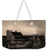 Mcintosh Farm Lightning Sepia Thunderstorm Weekender Tote Bag by James BO  Insogna