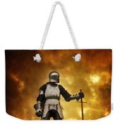 Medieval Knight In Armour On A Burning Battlefield Weekender Tote Bag