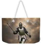 Medieval Knight In Armour On The Attack Weekender Tote Bag