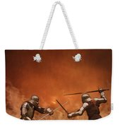 Medieval Knights In Armour Fighting With Swords Weekender Tote Bag