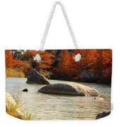 Fall Cypress At Bandera Falls On The Medina River Weekender Tote Bag
