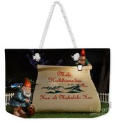 Mele Kalikimaka Sign And Elves Weekender Tote Bag