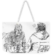 Men At The Cafe Weekender Tote Bag