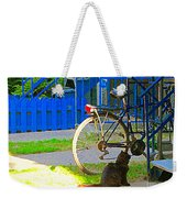 Meow Cat In Verdun Waiting By The Step Beautiful Summer Montreal Pet Lovers City Scene C Spandau Weekender Tote Bag