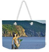 Mermaid On A Dock In Twillingate Harbour-nl Weekender Tote Bag