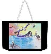 Mermaid Pelicans Surf Beach Cathy Peek Art Weekender Tote Bag