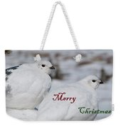 Merry Christmas - Winter Ptarmigan Weekender Tote Bag