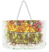 Merry Christmas And A Happy New Year - Fruit And Flowers In The Snow - Holiday And Christmas Card Weekender Tote Bag