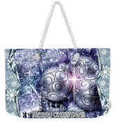Merry Christmas Blue Weekender Tote Bag by Mo T