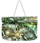 Merry Christmas Green Weekender Tote Bag by Mo T