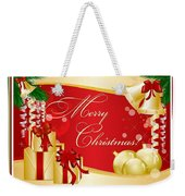 Merry Christmas Greeting With Gifts Bows And Ornaments Weekender Tote Bag