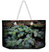 Merry Christmas And Happy Holiday - Blue Pine Holiday And Christmas Card Weekender Tote Bag