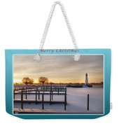 Merry Christmas Winter Marina And Lighthouse Weekender Tote Bag