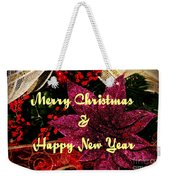 Merry Christmas With Purple Poinsettia Weekender Tote Bag