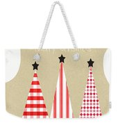 Merry Christmas With Red And White Trees Weekender Tote Bag by Linda Woods