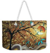 Metallic Gold Textured Original Abstract Landscape Painting Apricot Moon By Madart Weekender Tote Bag