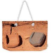 Metates At Wupatki Pueblo In Wupatki National Monument Weekender Tote Bag