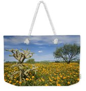 Mexican Golden Poppy Flowers And Cactus Weekender Tote Bag