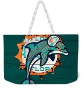 Miami Dolphins Football Team Retro Logo Florida License Plate Art Weekender Tote Bag