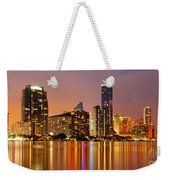 Miami Skyline At Dusk Weekender Tote Bag