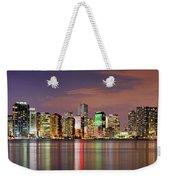 Miami Skyline At Dusk Sunset Panorama Weekender Tote Bag
