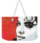 Michael Red And White Weekender Tote Bag