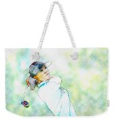Michelle Wie Hits Her Tee Shot On The Sixth Hole Weekender Tote Bag