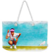 Michelle Wie Lines Up A Putt On The Eighth Green Weekender Tote Bag