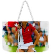 Michelle Wie Of The Usa Solhiem Cup Reacts After Missing A Putt Weekender Tote Bag