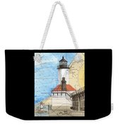Michigan City Lighthouse In Nautical Chart Map Art Cathy Peek Weekender Tote Bag