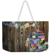 Michigan Counties State License Plate Map Weekender Tote Bag by Design Turnpike