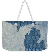 Michigan Great Lake State Word Art On Canvas Weekender Tote Bag