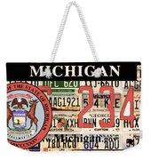 Michigan License Plate Weekender Tote Bag