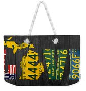 Michigan Love Recycled Vintage License Plate Art State Shape Lettering Phrase Weekender Tote Bag by Design Turnpike