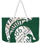 Michigan State Spartans Sports Retro Logo License Plate Fan Art Weekender Tote Bag