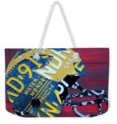 Michigan Wolverines College Football Helmet Vintage License Plate Art Weekender Tote Bag