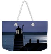 Midnight Moonlight On West Quoddy Head Lighthouse Weekender Tote Bag