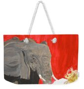 Mika And Elephant Weekender Tote Bag