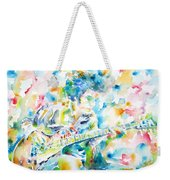 Mike Bloomfield Playing The Guitar - Watercolor Portrait Weekender Tote Bag