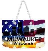 Milwaukee Wi Patriotic Large Cityscape Weekender Tote Bag