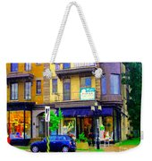 Mimi And Coco Clothing Boutique Laurier In The Rain  Plateau Montreal City Scenes Carole Spandau Art Weekender Tote Bag